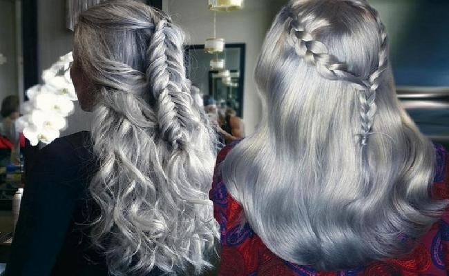 طريقة صبع الشعر أشقر رمادي